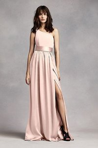 David's Bridal Blush White By Vera Wang One Shoulder Dress With Satin Sash Dress