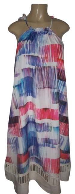 Item - Multicolor Polyester Printed Halter Cut Out Bottom Sleeveless Dress Tunic Size 6 (S)