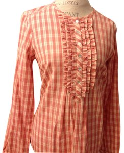 Garnet Hill Top Peach Coral and Off White checked