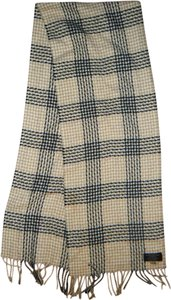 Unknown Beige Ivory Black Plaid Checkered Scarf