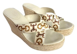 Gucci Satin Horsebit White Wedges