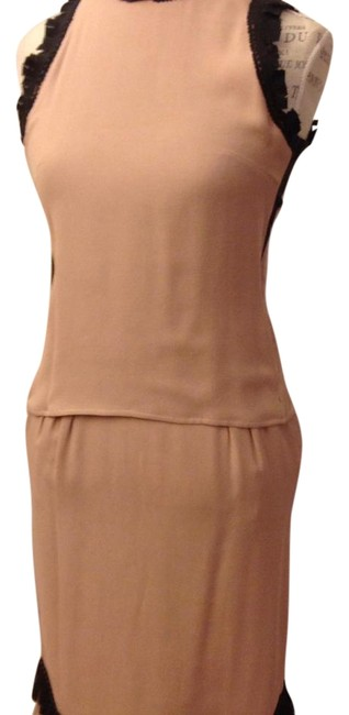 Item - Peach Gonna Georgette Accopplat Sabbia Mid-length Short Casual Dress Size 4 (S)