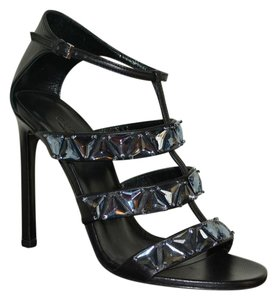 Gucci Leather Crystal Black / Blue Sandals