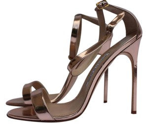 Manolo Blahnik Leather Rose Gold Sandals