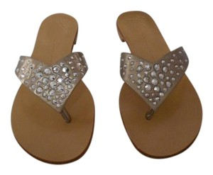 Giuseppe Zanotti Elegant Design Soft Leather Swarovski Crystals Made In Italy Soft Gold Sandals