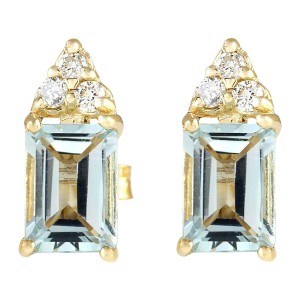 Fashion Strada 2.65 Carat Natural Aquamarine Diamond Stud Earrings 14K Yellow Gold