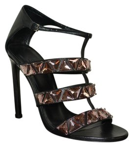 Gucci Leather Crystal Black / Rame Sandals