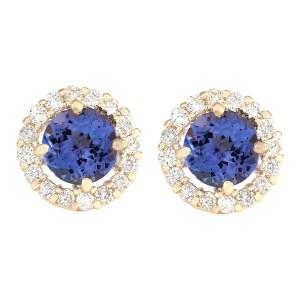 Fashion Strada 2.65 CTW Natural Blue Tanzanite Diamond Earrings 14k Solid Yellow Gold