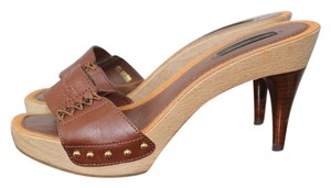 Louis Vuitton Lv Peeptoe Leather Sandal cognac Mules