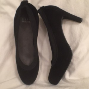 Stuart Weitzman Suede Leather Comfortable Pumps Black Platforms