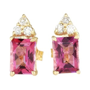 Fashion Strada 2.65 CTW Natural Pink Tourmaline Diamond Earrings 14k Yellow Gold