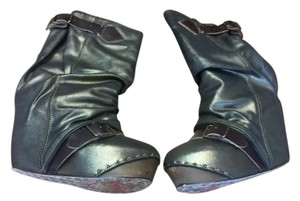 Irregular Choice Buckles Leather Wedge Champagne Boots