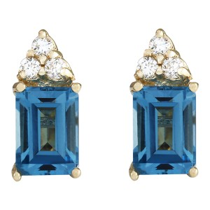 Fashion Strada 2.65 CTW Natural Topaz And Diamond Earrings 14k Solid Yellow Gold