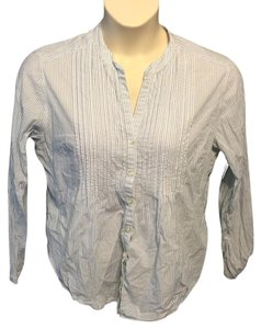 Eddie Bauer Pinstriped Cotton Casual Button Down Shirt White and blue