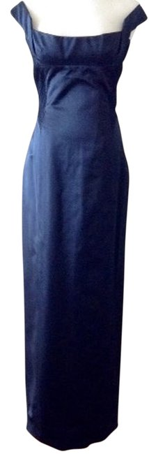 Item - Navy Structured Corset-style Bodice Long Formal Dress Size 6 (S)