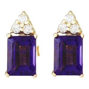 Fashion Strada 2.66 CTW Natural Amethyst Diamond Earrings 14k Solid Yellow Gold