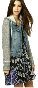Free People Denim Distressed Knit Hood Womens Jean Jacket