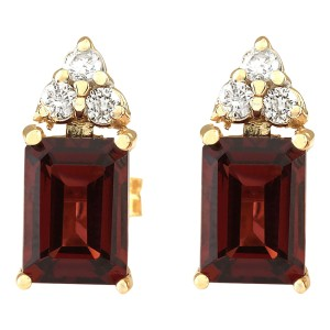 Fashion Strada 2.66 CTW Natural Garnet And Diamond Earrings 14k Solid Yellow Gold