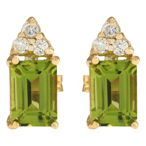 Fashion Strada 2.75 CTW Natural Peridot And Diamond Earrings 14k Solid Yellow Gold