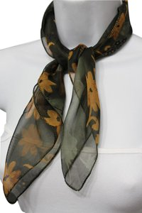 Other Sexy Green Small Neck Scarf Fabric Square Print Pocket Brown Flowers