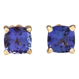 Fashion Strada 2.90 CTW Natural Blue Tanzanite Earrings 14k Solid Yellow Gold