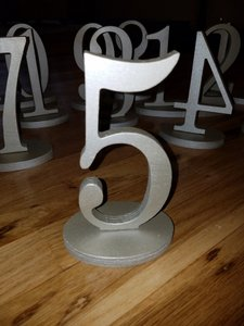 Wooden Table Numbers In Soft Gold 1-12