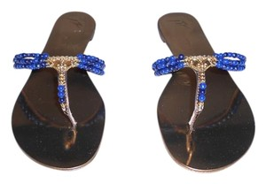 Giuseppe Zanotti Beaded Design Elegant Made In Italy New Never Worn Blue/Gold Sandals