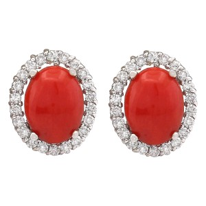 Fashion Strada 2.95 CTW Natural Coral And Diamond Earrings 14k Solid White Gold