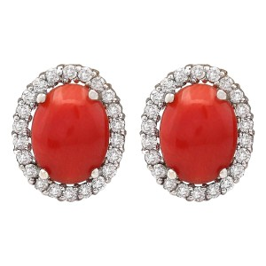 Fashion Strada 2.95 Carat Natural Coral 14K White Gold Diamond Earrings