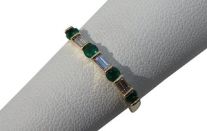 Tiffany & Co. Vintage 18K Gold Emerald & Baguette Diamond Band Ring sz7