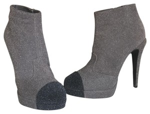 Chanel Booties Glitter Grey/Black Platforms