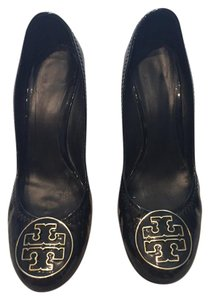 Tory Burch Patent Black Wedges