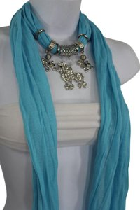 Other Women Blue Long Scarf Fabric Silver Metal Dog Poodle Pendant Necklace
