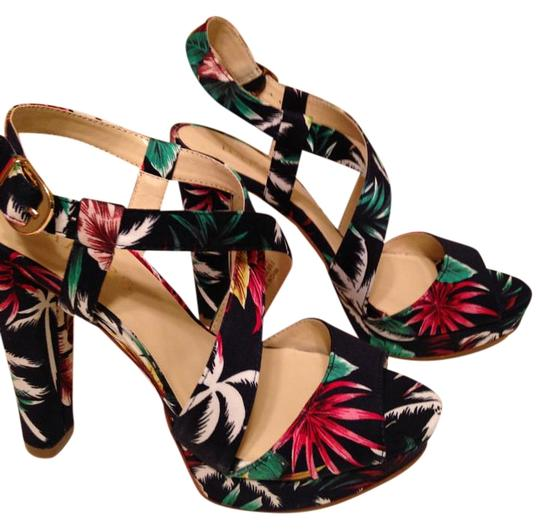 Bakers Floral Print Navy Multi Sandals Image 0