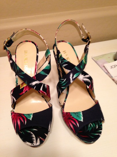 Bakers Floral Print Navy Multi Sandals Image 1