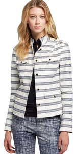 Tory Burch Jacket Gold Hardware White and Blue Striped Blazer