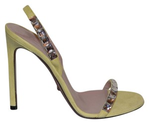 Gucci Leather Crystal Yellow Sandals