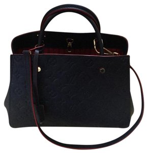 Louis Vuitton Montaigne Leather Empreinte Satchel in Navy Blue