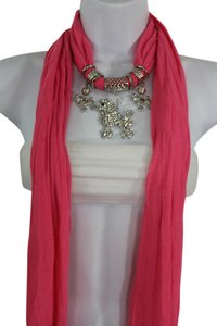 Women Pink Long Scarf Fabric Silver Metal Dog Poodle Pendant Necklace