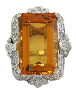 Fashion Strada 21.49CTW Natural Citrine Diamond Ring 14K Solid White Gold