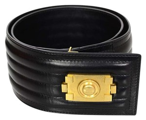 Chanel Chanel Black Leather Belt with Boy Buckle Sz 90