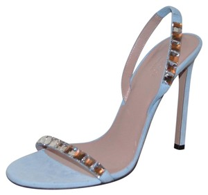 Gucci Leather Crystal Blue Sandals