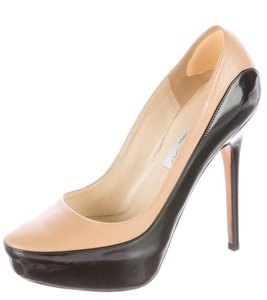 Jimmy Choo Patent Leather Platform Sepia Black, Beige Pumps