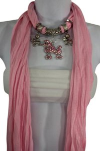 Light Pink Long Scarf Fabric Silver Metal Dog Poodle Pendant Necklace