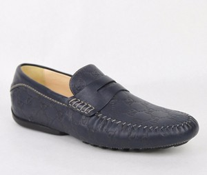 41b73c9d91c Gucci Navy Blue Guccissima Leather Loafer Moccasin Driver G 12  Us 12.5  170618 4009 Shoes