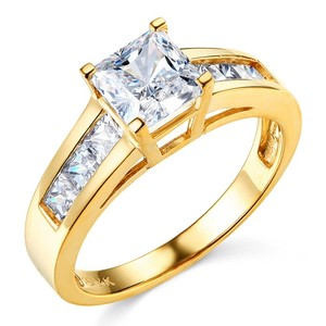 Other 14k Yellow Gold Channel Side & Princess Cut Man Made Diamond Engagement Ring Size 5 6 7 8 9 10