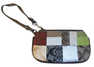 Coach Patchwork Wristlet in brown multi