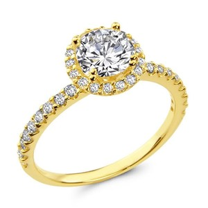 14k Yellow Gold Round Halo Man Made Diamond Engagement Ring Sizes 5 6 7 8 9