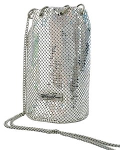 Whiting & Davis Small Bucket Satchel in Silver