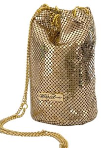 Whiting & Davis Small Bucket Satchel in Gold